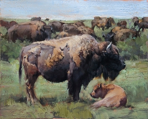 """Jill Soukup, """"Belly and Baby,"""" Oil on Panel"""
