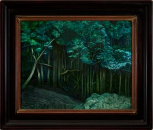 "Eva Cellini, ""Dark Forest"" Oil on Panel"